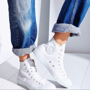 Converse high tops pure white leather sz 8.5